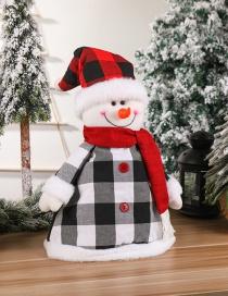 Colgante De Sombrero De Árbol De Navidad A Cuadros De Muñeco De Nieve Anciano