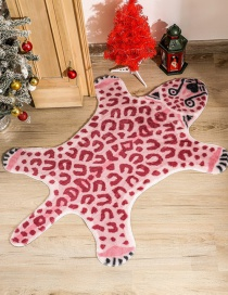 Fashion Pink Leopard Leopard And Lion Print Pet Mat With Rabbit Fur