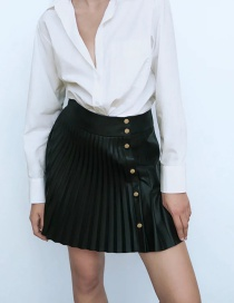 Fashion Black Faux Leather Pleated Single-breasted Skirt