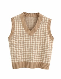 Fashion Khaki Houndstooth Loose V-neck Knitted Vest