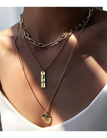 Fashion Golden Geometric Alloy Multilayer Necklace