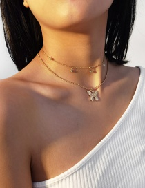 Fashion Golden Micro Diamond Butterfly Alloy Multilayer Necklace