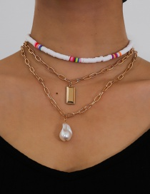 Fashion Golden Soft Ceramic Pearl Geometric Alloy Multilayer Necklace