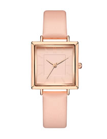 Fashion Pink Square Pu Belt Quartz Watch