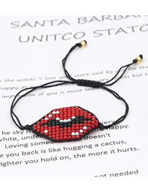 Fashion Red Beads Hand Woven Lips Hand Rice