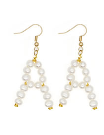 Fashion White A Natural Freshwater Pearl Woven Alphabet Alloy Earrings
