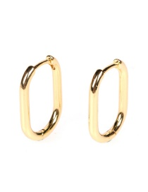 Fashion Oval Big Golden Locked Geometric Gold-plated Earrings