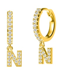 Fashion N-gold Copper Inlaid Zircon Letter Round Earrings