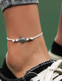 Fashion White Tortoise Alloy Wax Rope Braided Anklet
