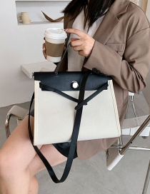 Fashion White Stitching Contrast Lock One Shoulder Messenger Bag