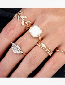 Fashion Golden Twisted Alloy Leaf Micro-inlaid Zircon Ring Set