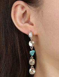Fashion Golden Pearl Long Fringed Metal Disc Turquoise Earrings