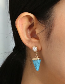 Fashion Blue Covered Triangle Turquoise Pearl Alloy Earrings