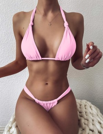 Fashion Pink Solid Color Knotted Triangle Lace Split Swimsuit