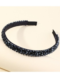 Fashion Navy Checked Rhinestone Beaded Geometric Headband