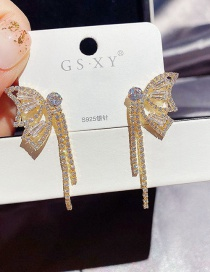 Fashion Real Gold Plated Full Diamond Tassel Butterfly Copper Inlaid Zircon Earrings