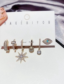 Fashion Real Gold Plated Eye Geometric Awning Star Copper Inlaid Zircon Earrings Set