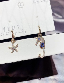 Fashion Real Gold Plated Asymmetrical Starfish Seahorse Copper Inlaid Zircon Earrings