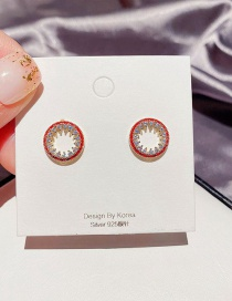 Fashion Real Gold Plated Diamond Red Edge Circle Copper And Zircon Earrings