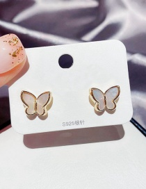 Fashion Real Gold Plated Natural Shell Three-dimensional Butterfly Earrings With Real Gold Plated