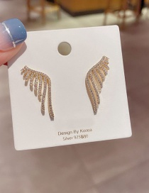 Fashion Real Gold Plated Angel Wings Wings Copper Inlaid Zircon Earrings