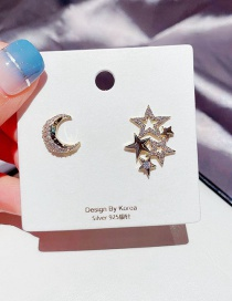 Fashion Real Gold Plated Star And Moon Copper Inlaid Zircon Asymmetric Earrings