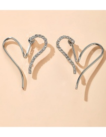 Fashion Silver Full Diamond Love Alloy Stitching Hollow Earrings