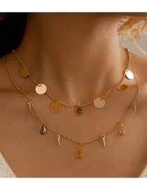 Fashion Golden Water Drop Disc And Diamond Geometric Double Necklace