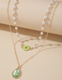 Fashion Green Sunflower Drop Diamond Alloy Pearl Double Necklace