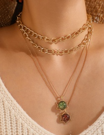 Fashion Golden Hexagonal Crystal Alloy Thick Chain Multilayer Necklace