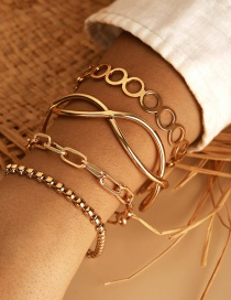 Fashion Golden Geometric Chain Metal Figure 8 Circle Bead Bracelet Set