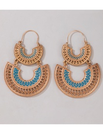 Fashion Golden Hollow C-shaped Double Layer Ancient Gold U-shaped Earrings