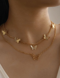 Fashion Rose Gold Small Butterfly Alloy Hollow Double-layer Necklace