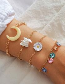Fashion Golden Flower Broken Shell Moon Alloy Multilayer Bracelet