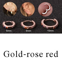 Fashion Gold-rose Red 6mm Micro-inlaid Zircon Round Copper Gold-plated Cartilage Earrings