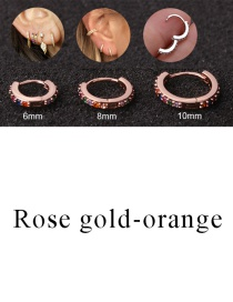 Fashion Rose Gold-orange 6mm Micro-inlaid Zircon Round Copper Gold-plated Cartilage Earrings