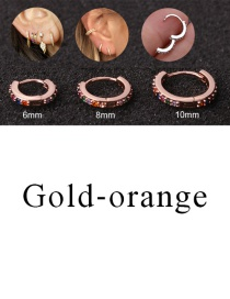 Fashion Gold-orange 8mm Micro-inlaid Zircon Round Copper Gold-plated Cartilage Earrings