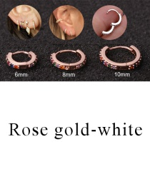 Fashion Rose Gold-white 8mm Micro-inlaid Zircon Round Copper Gold-plated Cartilage Earrings