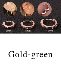 Fashion Gold-green 10mm Micro-inlaid Zircon Round Copper Gold-plated Cartilage Earrings