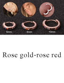 Fashion Rose Gold-rose Red 10mm Micro-inlaid Zircon Round Copper Gold-plated Cartilage Earrings