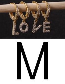 Fashion M Gold Micro-set Zircon Letters Gold-plated Geometric Pendant Earrings