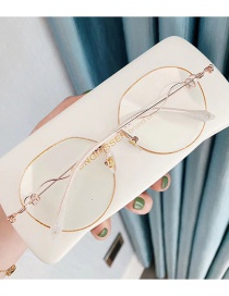 Fashion Flash Gold Diamond Anti-blue Light Round Frame Flat Lens