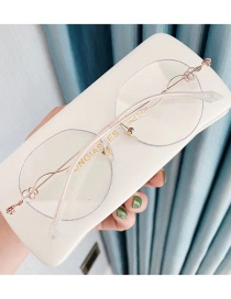 Fashion Flash Silver Diamond Anti-blue Light Round Frame Flat Lens