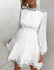 Fashion White Solid Color High Waist Hollow Lace Stitching Lantern Sleeve Dress