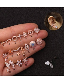 Fashion 1# Rose Gold Stainless Steel Geometric Earrings With Micro-inlaid Zircon