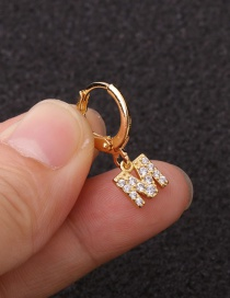 Fashion M Gold Letter Micro-inlaid Zircon Stainless Steel Geometric Earrings (1 price)