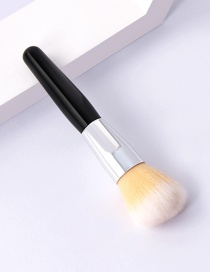 Fashion Single-mi-black And White-round Head Round Head Makeup Brush With Wooden Handle And Aluminum Tube