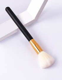 Fashion Single-black Gold-yellow White-loose Powder Color Makeup Brush With Wooden Handle And Aluminum Tube Nylon Hair