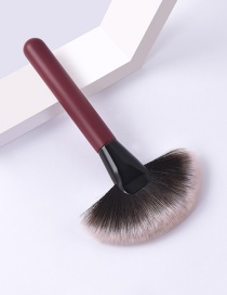 Fashion Single Branch-burgundy-big Fan Color Makeup Brush With Wooden Handle And Aluminum Tube Nylon Hair