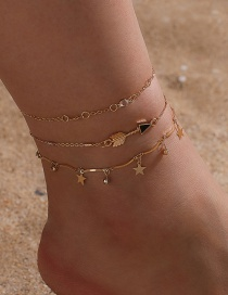 Fashion Gold Color Coloren Arrow Rhinestone Five-pointed Star Pendant Alloy Multilayer Anklet